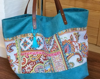 Bohemian oversize bag - Boho Big bag - Tote bag - Large blue suede bag with bohemian ethnic fabric