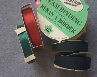 Vintage/Retro/Antique Taffeta Seam Binding/Roll Tape/Pink/Green/Brown/Grey/Black/Red/Size 5 & 7/Canadian/Beldings/Corticelli/Lady Fair