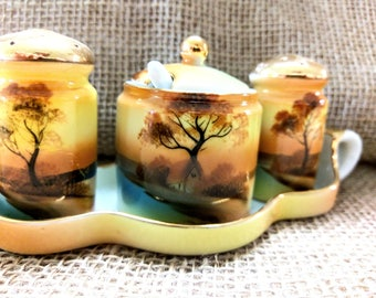 Vintage 1930s Noritake Handpainted China Condiment Set with Salt and Pepper Shakers and Mustard Pot