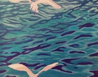 Title Mouettes, oil painting, pop art, figurative art, original art.