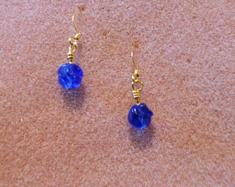 Blue Glass Twisted Earrings