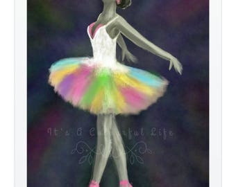 Colourful Ballet Dancer Original Art Print