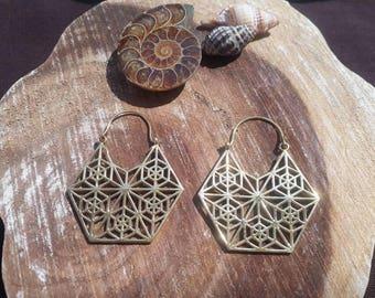 Geometric brass earrings, tribal, psycedelic, geometric