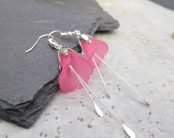 Calla Lily Flower earrings in hot pink, with dangling silver stamens