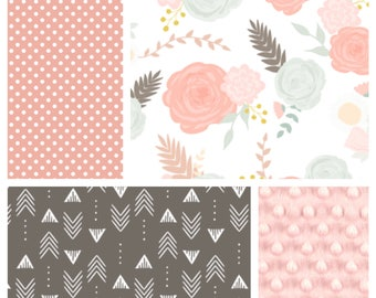 Baby Girl Crib Bedding | Minky Blanket, Crib Sheet and Crib Skirt with Flowers,Dots and Arrows in Pink, Frosted Mint, and Brown