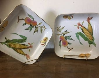 Royal Worcester Evesham  Gold Square Buffet Dish(s) set of 2