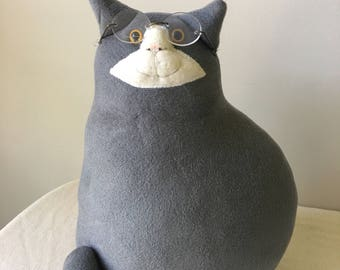 Vintage Stuffed Fat Cat with glasses-gray cat-cat collector-vintage toys and collectibles-nursery-home-children's room-stuffed toys-toy-gray