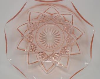"Hazel Atlas Diamond Arches 8"" Serving Bowl Pink"