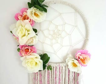 Pink dream catcher, Floral dream catcher, nursery dream catcher, floral, bohemian, artificial flowers, floral nursery dream catcher, nursery