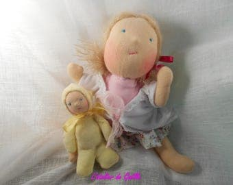 Rosalie, Waldorf doll 27 cm and her baby 13 cm