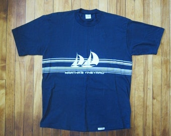 80s Crazy Shirts Hawaii 100% Cotton Made in the USA Black 'Martha's Vinyard' Sailing Front and Back Decal Short Sleeve TShirt