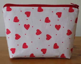 Rose & Hubble Make Up Case, Makeup Bag, Cosmetics Purse, Red Hearts On White, Cotton Fabric, Lined, Handmade