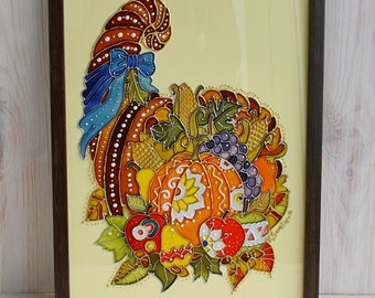 Hand painted glass painting, autumn cornucopia, fall gift, glass pumpkin, color glass vitrage, stainted glass,Thanksgiving day gift,wall art