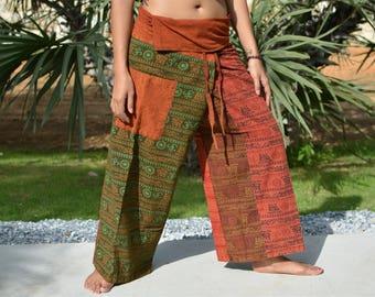 Thai Fisherman pants, wrap pants, Boho Hippie pants, patchwork, stonewashed cotton, unique handmade pant