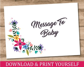 Printable, Personalised A6 Message For Baby Cards. Baby Shower Game. Floral Design. Digital Download.