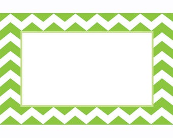 50 Gift  Tags, Florist Blank Enclosure Cards ,Small  Hang Tags Crafts , Green Chevron