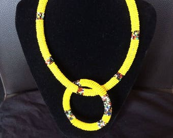 African Bead single strand necklace bangle set