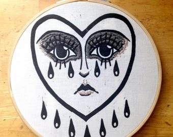 Crying Heart | embroidery | relief print on muslin