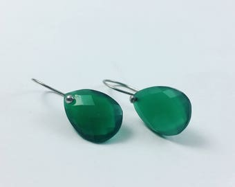 Simplistic Green Drop Earrings