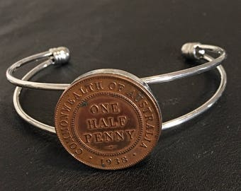 Bangle- Bracelet Australian 1939 Half Penny,