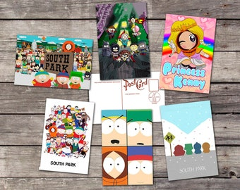 South Park set 6 postcards | cartman art poster | kenny art print | kyle broflovski illustration | stan post card | PaperBunnyShop