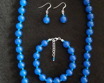 Blue Onyx necklace, bracelet and earrings (sets)