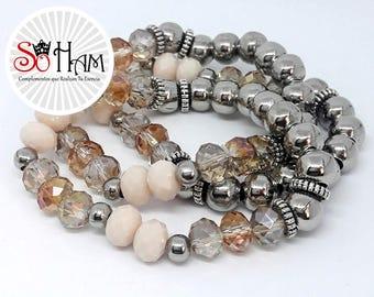 Bracelet beads, Lampwork, handmade, Hematite