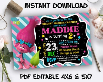 Trolls Party Invitation, Trolls Invitation, Trolls Party, Trolls Invitation Download, Trolls PDF Editable Template, Trolls Instant Download