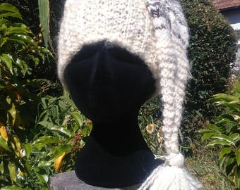 Pixie style, handmade woolly hat with tassel. Be fairy fashionable, elvishly elegant, look like the little folk..
