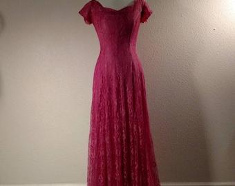 1950's pink dress, lace, floor length, formal, sweetheart neckline