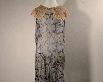 20's flapper dress, art deco, silk chiffon, vintage 1920's sheer gown, ecru lace, floral deco dress