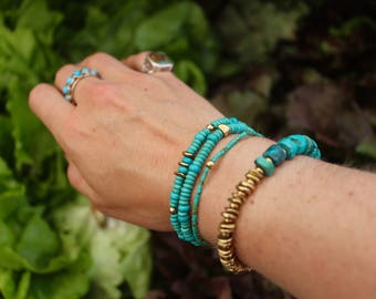 Stackable Turquoise and Brass Bracelet