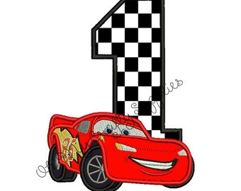 Red Race Car with number one applique embroidery design