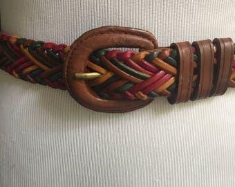 Leather Belt - Braided Belt - Multi-Color - Vintage Belt