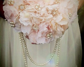 Wedding brooch bouquet blush pink bouquet Rose Gold / pearl bouquet. Full price