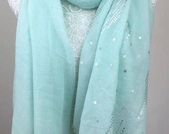 Sequin Embellished Scarf - Light Green
