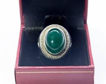 Green Chalcedony Mens Ring
