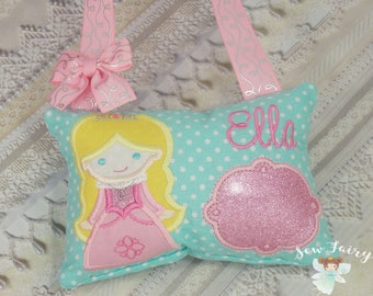 Sleeping Princess Personalized Tooth Fairy Pillow  * Monogrammed Tooth Fairy Pillow * Tooth Fairy Gift Ideas * Girls Tooth Fairy Pillow