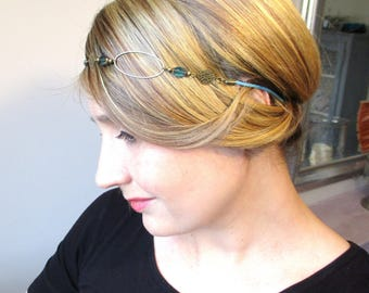 CHEAP discontinued - Chic hippie Headband blue leather and Czech glass beads