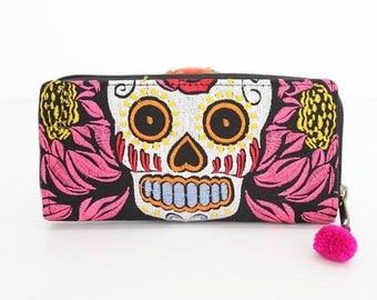 Skull Pattern Hmong Wallet With Pom Pom Pull Zipper