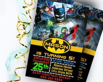 Batman Invitations, Batman Birthday Invitation, Batman Invitation, Batman Party Invitations, Batman Lego Invitation, Batman Lego Birthday