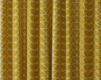 Wonderful Orla Kiely Linear Stem Mustard, Made To Measure, Fully Lined, Handmade  Curtains
