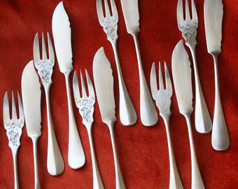 Fish cutlery Jugendststil Art Nouveau fish silver plated cutlery engraving engraved 6 pairs