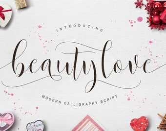 Calligraphy font download, Calligraphy typeface, Wedding font, instant downloadable font - Beautylove Script