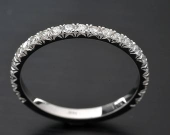 14kt .25ct TW band with CVD diamonds set French Cut micro Pave White Gold, Yellow Gold, Pink Gold Platinum 1.9mm wide