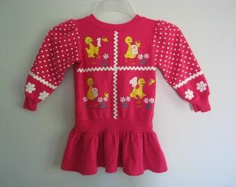 Vintage BIG BIRD Sesame Street 1234 Pink Sweatshirt Dress Toddler Girls Size 3T