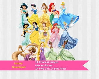 Disney Princess Designs, 14 Princess Images, Princess clip art, Princess Party, Digital Download in .SVG and .PNG formats, Print and Cut,