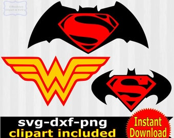 Batman vs Superman svg cut file, batman vs superman clipart, batman vs superman svg, studio file, wonderwoman logo, vector, cricut download