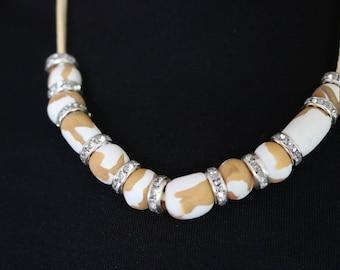 Custom Necklace Original Polymer Clay Neutral Color.