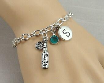 Beer Bottle Charm Bracelet, Beer Drinker Bracelet, Initial and Birthstone Bracelet, Silver Plated Link Charm Bracelet